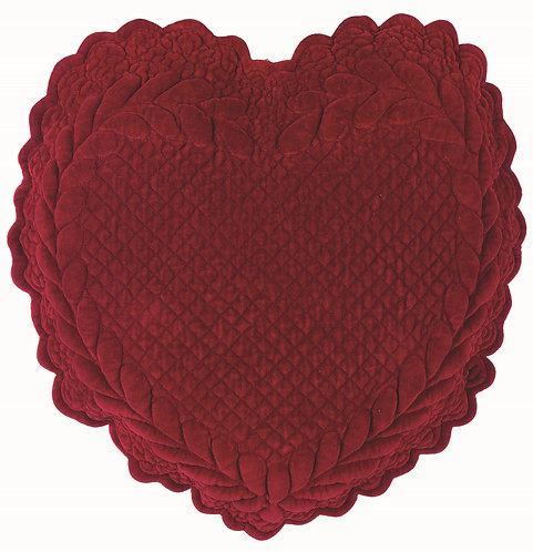 Velvet Heart - Cuscino cuore velluto Bordeaux