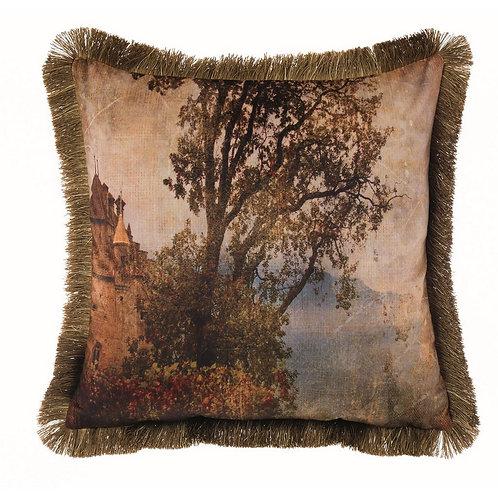 Pinacoteca - Cuscino velluto alberi con frange