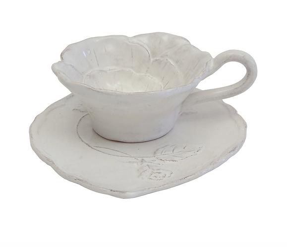 Romantica - Tazza tè con piattino artigianale