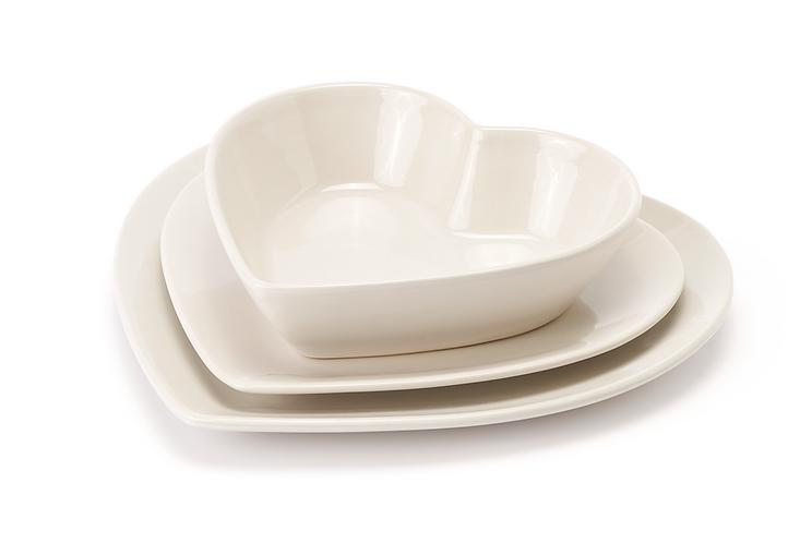 Heart - Set 18 piatti grigio pastello (6 posti tavola)