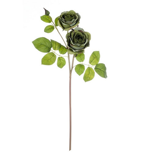 Il Roseto - Ramo con 2 rose verdi cm.65 h