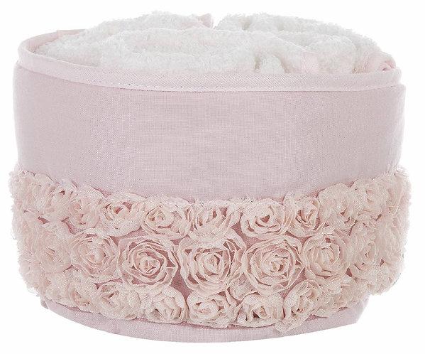 Parterre - Cestino rosa con 3 lavette
