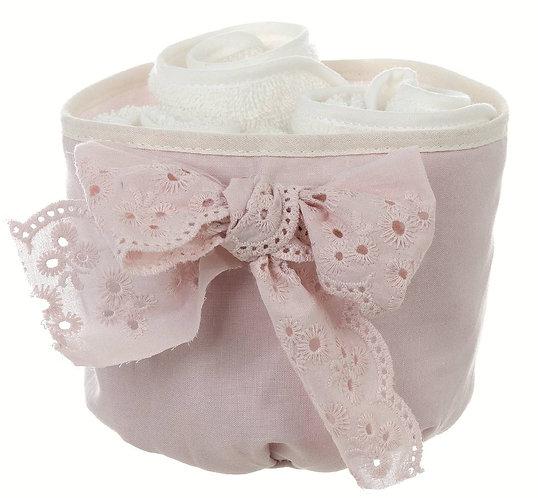 Gli innamorati - Cestino rosa sangallo con 3 lavette