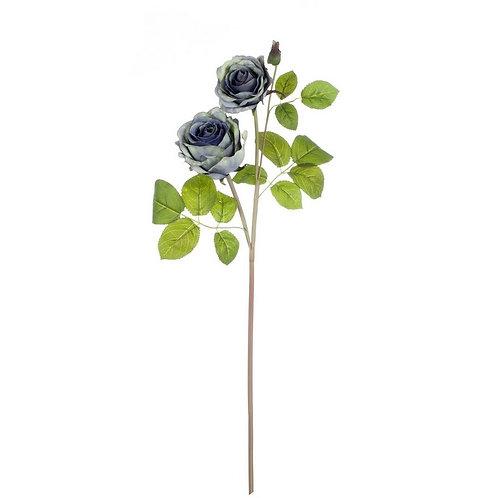 Il Roseto - Ramo con 2 rose blu cm.65 h