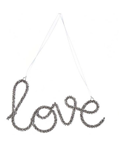 Love - Decoro con strass argento 13h