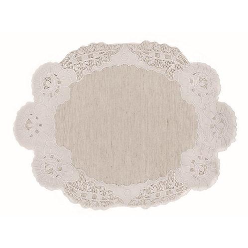 Tiepolo - Tovaglietta ovale ecrù