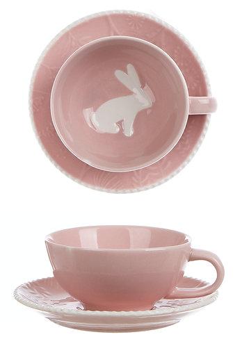 Il Paese delle Meraviglie - Tazza rosa con piattino