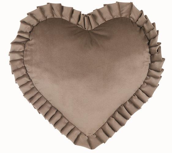 Velvet - Cuscino cuore 45x45 Grigio