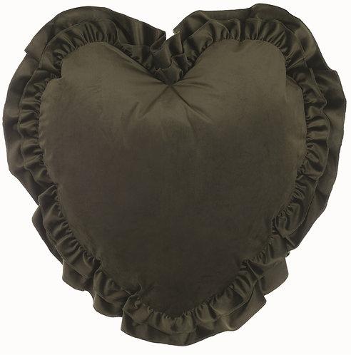 Velvet - Cuscino cuore verde 55x55