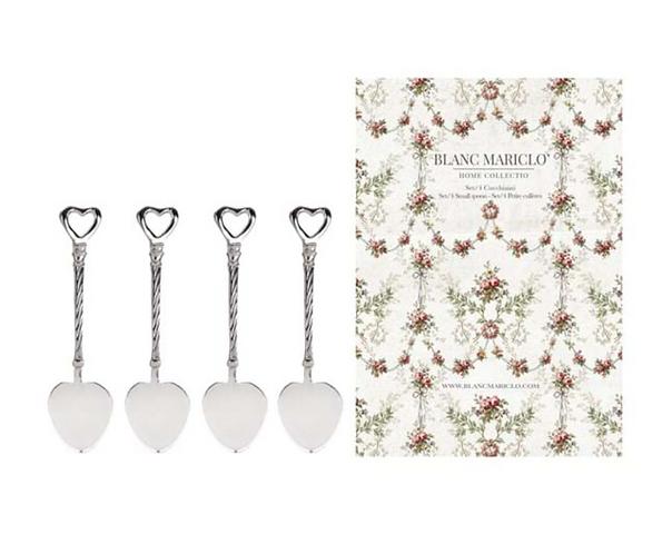 Posateria Blanc - Set 4 cucchiaini cuore