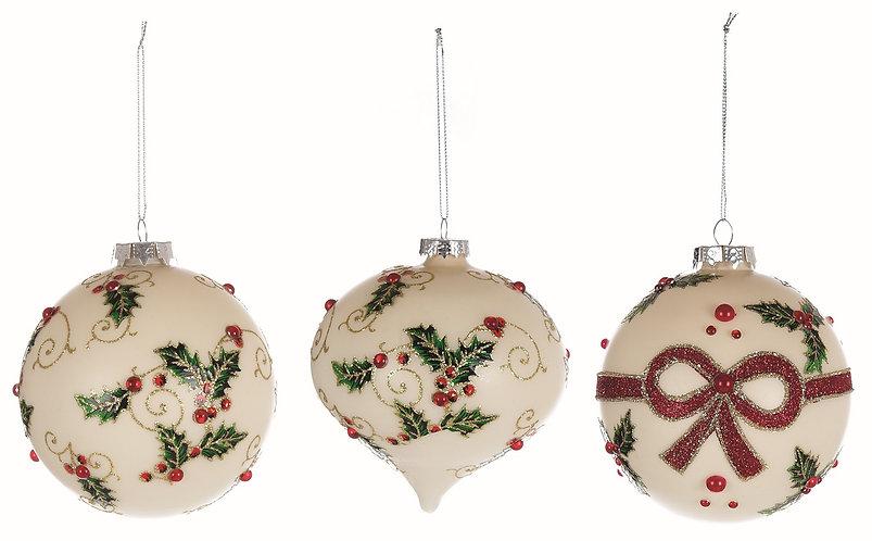 Vintage Christmas - Set 3 sfere vetro 10h