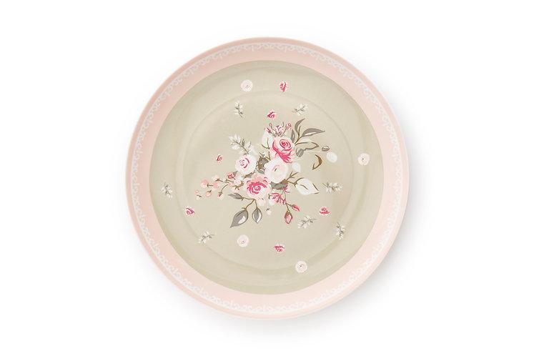Sophie - Piatto roselline fondo rosa e tortora