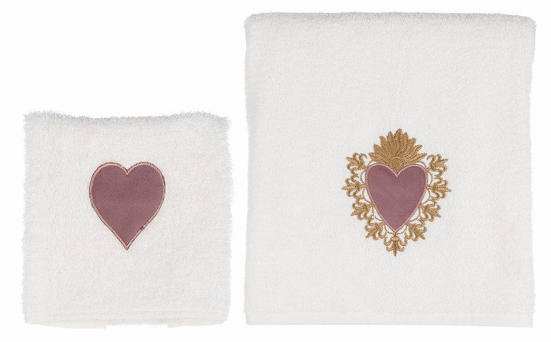 Devota - Coppia spugna cuore velluto rosa