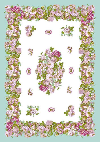 Mezzeri - Tovaglia copritutto fiori rosa 180x260