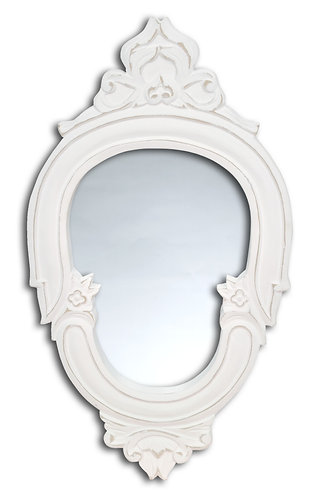 Specchio Blanc - Ovale bianco medio