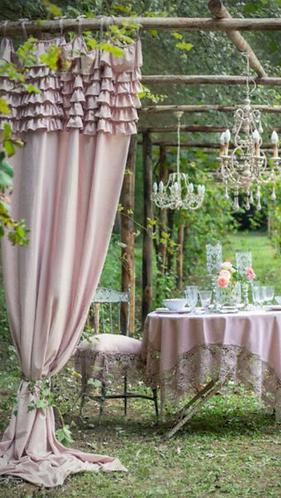 Eterna - Tenda con gale rosa 150x290