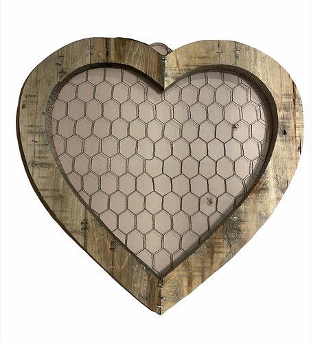 Country - Quadro cuore con rete cm.47x47 h
