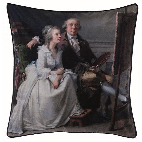 Velluto Stampato - Cuscino con Dama e Cavaliere