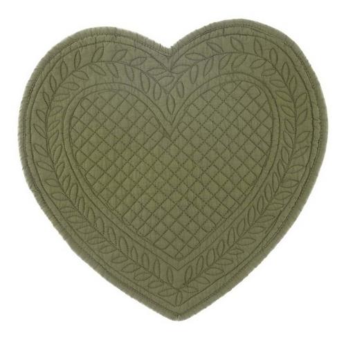 Carmen - Tovaglietta a cuore verde oliva