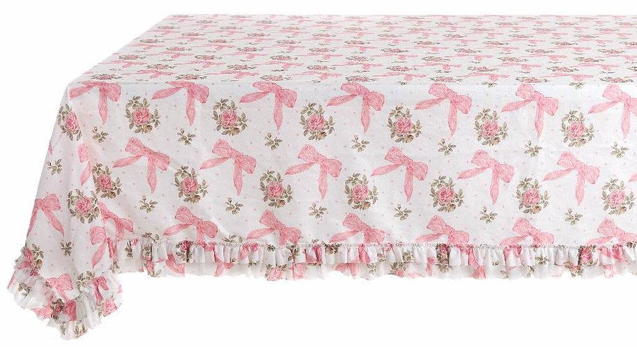 Romanzo - Tovaglia con gale fiocco rosa 160x220