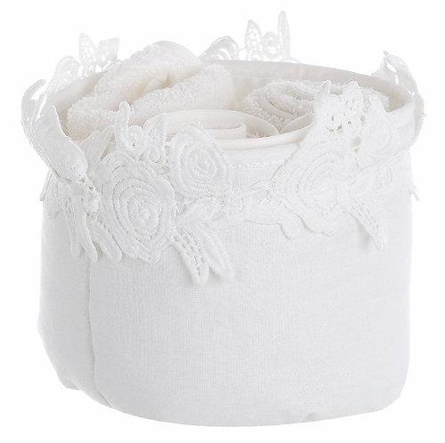 Applauso - Cestino bianco con 3 lavette