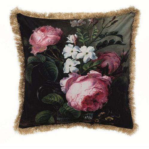 Affresco - Cuscino velluto peonie e fiori con frangia