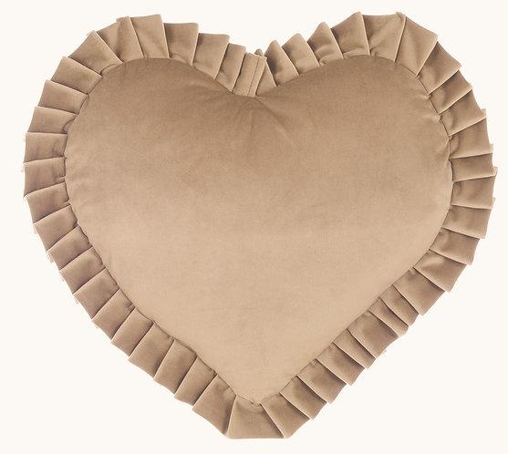 Velvet - Cuscino cuore 45x45 Fango
