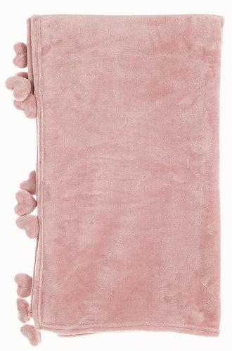 Plaid - Plaid con pom pom cuori rosa 170x140