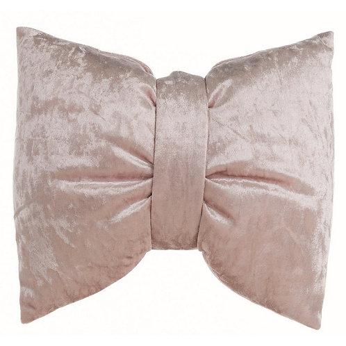 Bright Velvet - Cuscino fiocco velluto rosa 35x30