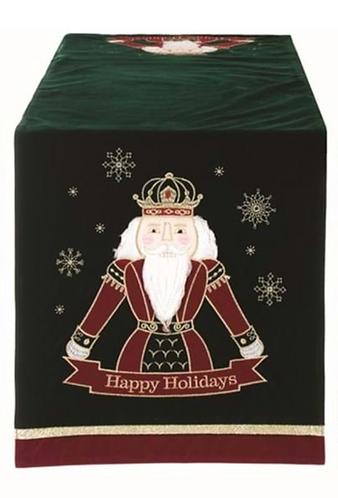 Happy Holidays - Runner verde con schiaccianoci