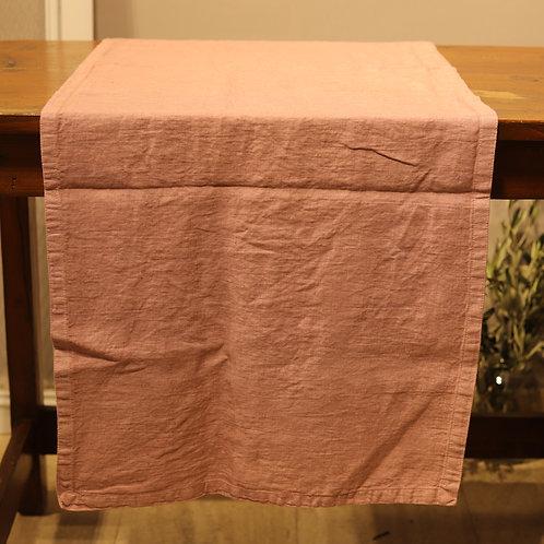 Pan di Lino - Runner color rosa 50x160