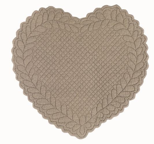 Amore - Tovaglietta cuore tortora