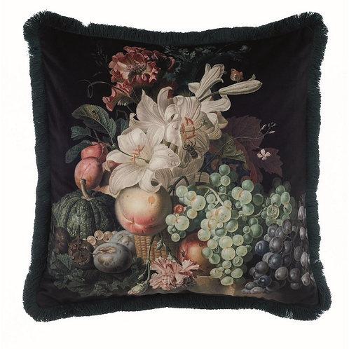 Pinacoteca - Cuscino velluto frutta frangia nera