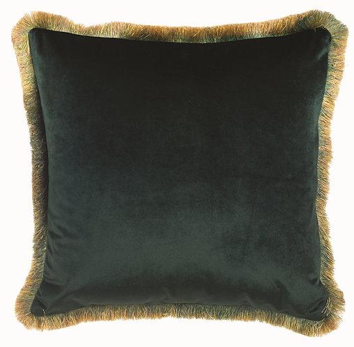 Velvet - Cuscino con frange verde 45x45