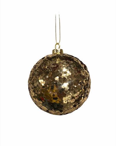 Vintage - Palla di Natale paillettes oro 10h.