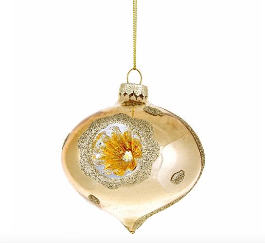 Vintage - Palla di Natale vetro cipolla oro 9h.