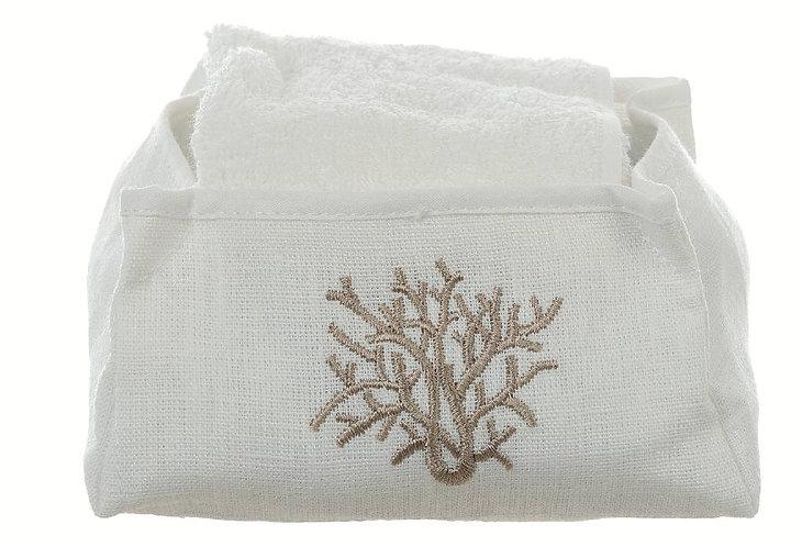 Medea - Cestino coralli con 2 lavette