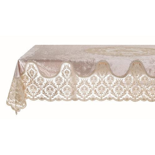 Velvet & Lace - Tovaglia velluto beige con pizzo 160x160
