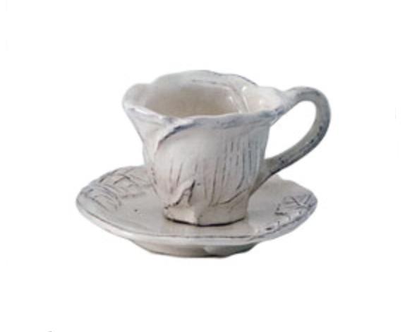 Romantica - Tazza caffè con piattino artigianale