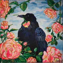 Corbeau avec roses
