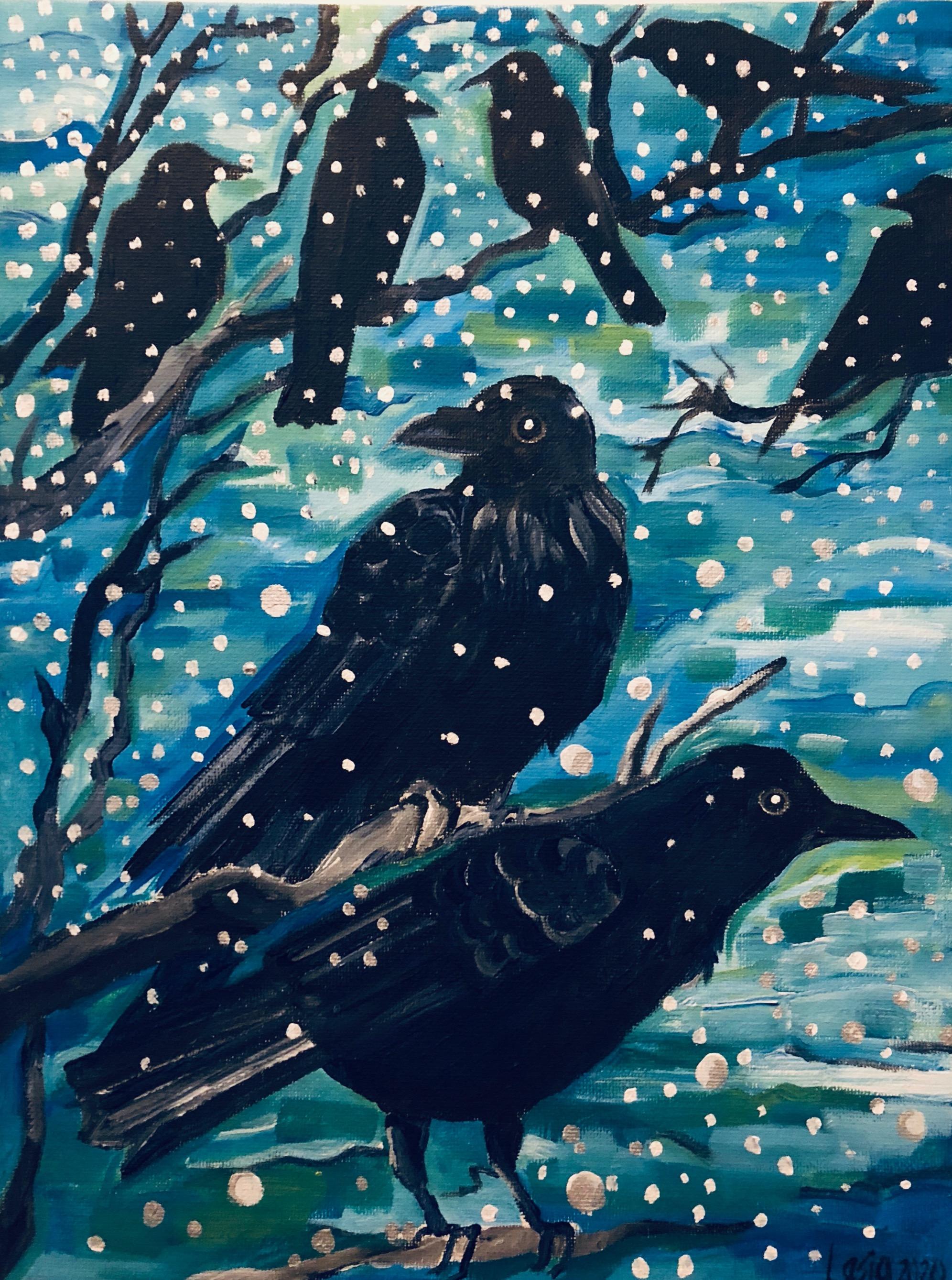 Les corbeau et la première neige