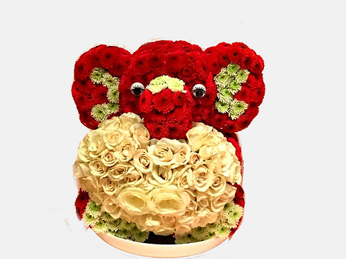 Red Elephant in Love Flower Toy
