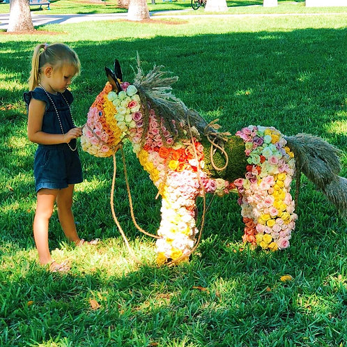 Roses Horse Topiary Sculpture