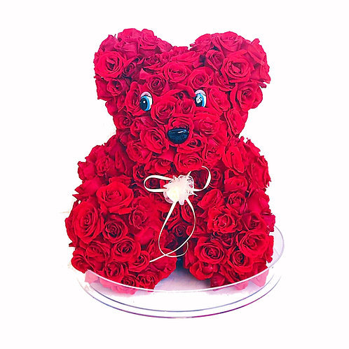 Teddy Bear made of Natural Red Roses