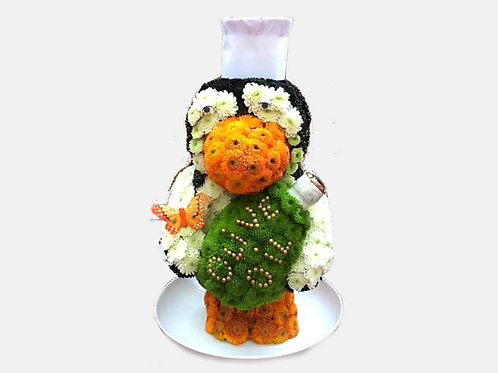 Penguin Chef Flower Toy