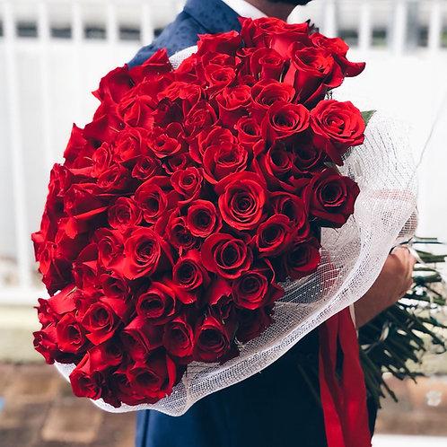 100 Red Roses - Premium Bouquet