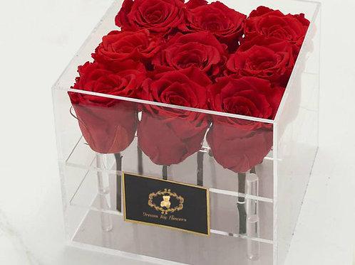 9 Deluxe Rose Arrangement in acrylic box