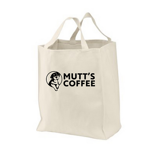 Market Bag, Mutt's Coffee Logo, 100% Cotton Tote Bag, Natural