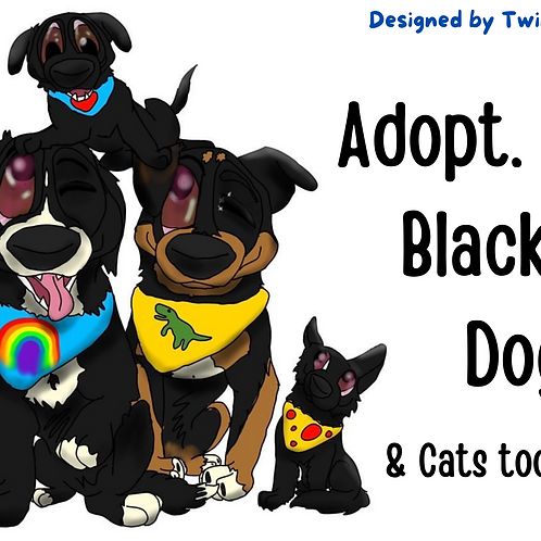 Postcard- Adopt Black Dog and Cats Label by TwinDogDesign