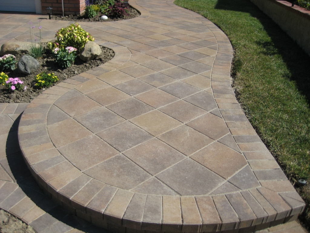 exterior-wonderful-brwon-color-modern-design-garden-paving-patio-design-be-equipped-flower-rose-pink